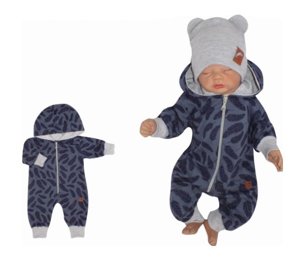 Z & Z Detský teplákový overal s kapucňou, Pierka, modrý, veľ. 74-#Velikost koj. oblečení;74 (6-9m)