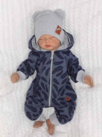 Detský teplákový overal s kapucňou, Pierka, modrý, veľ. 86
