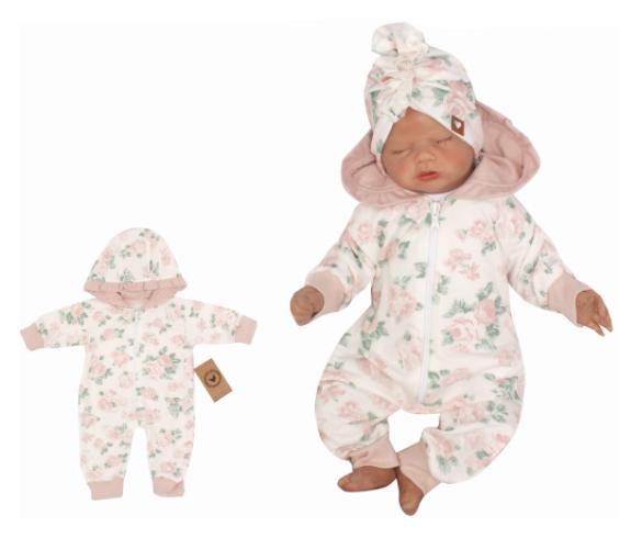 Detský teplákový overal s kapucňou, Kvetinka, ružová-#Velikost koj. oblečení;56 (1-2m)