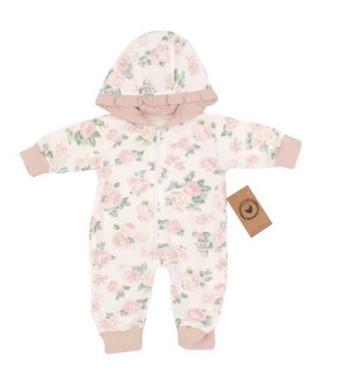 Detský teplákový overal s kapucňou, Kvetinka, ružová, veľ 56