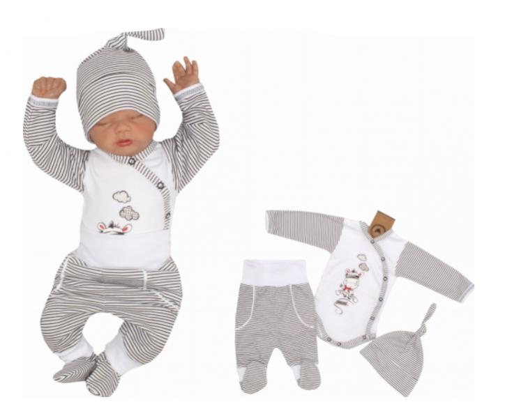 Z & Z 3-dielna súpravička body, tepláčky a čiapočka Zebra - biela-#Velikost koj. oblečení;50 (0-1m)