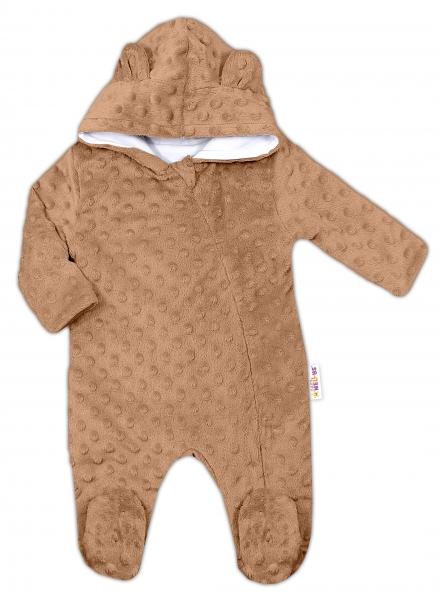 Baby Nellys Kombinézka /overal Minky s kapucňou a uškami - karamel, hnědá, Veľ. 68