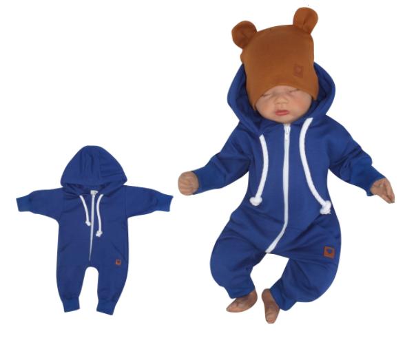 Z & Z Detský teplákový overal s kapucňou, tm. modrý-#Velikost koj. oblečení;56 (1-2m)