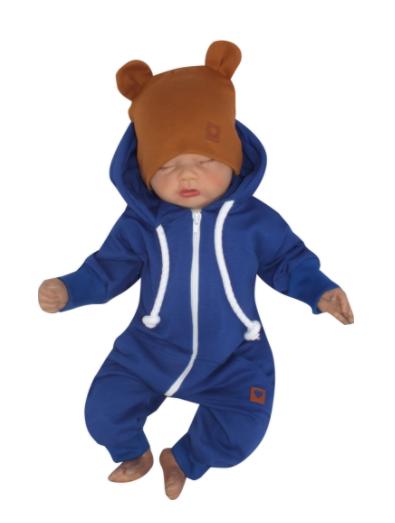 Detský teplákový overal s kapucňou, modrý, veľ. 62