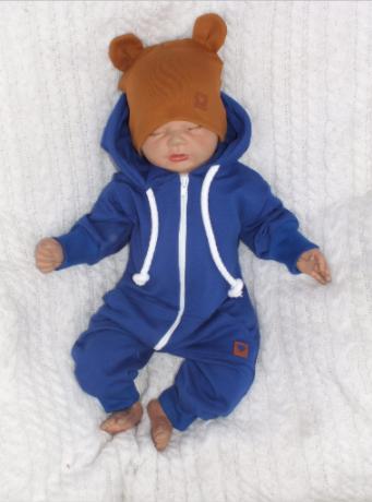 Detský teplákový overal s kapucňou, modrý, veľ. 74