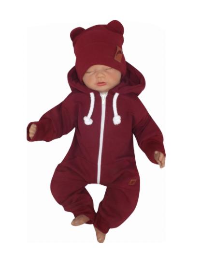 Detský teplákový overal s kapucňou, bordó, veľ. 86