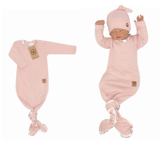 Z & Z Dojčenský rastúce bavlnený overal + čiapočka, ružový-#Velikost koj. oblečení;56/62