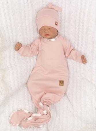 Dojčenský rastúci bavlnený overal + čiapočka, ružový, veľ  56/62