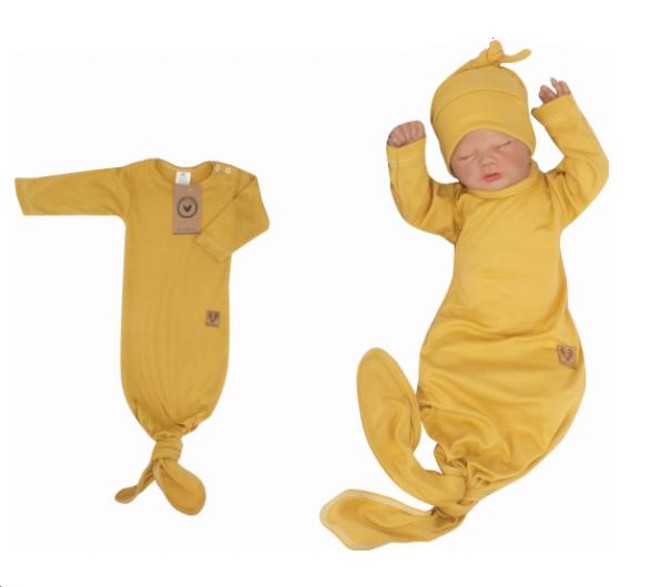 Z & Z Dojčenský rastúce bavlnený overal + čiapočka, horčicový-#Velikost koj. oblečení;56/62
