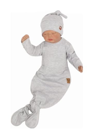 Dojčenský rastúci bavlnený overal + čiapočka, sivý, 56/62