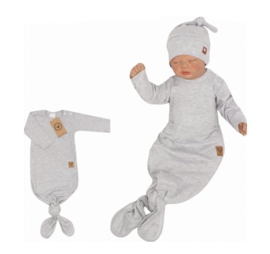 Z & Z Dojčenský rastúce bavlnený overal + čiapočka, sivý