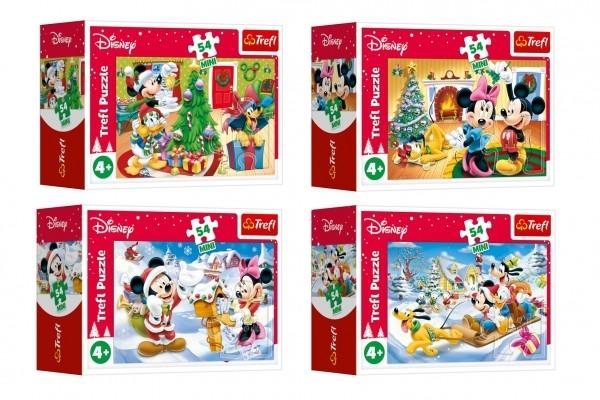 Minipuzzle Vianoce s Mickeym 54 dielikov 4 druhy v krabičke 9x6,5x3,5cm 40ks v boxe