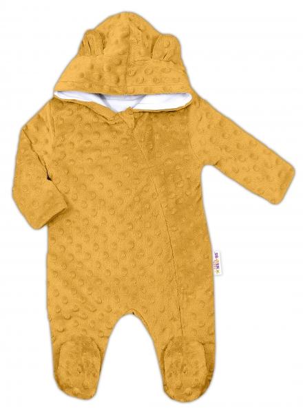 Baby Nellys Kombinézka /overal Minky s kapucňou a uškami -horčica