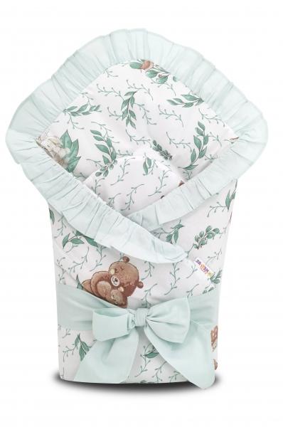 Baby Nellys Rýchlozavinovačka 80x80cm s volánikom a stuhou, LULU natural, zelená