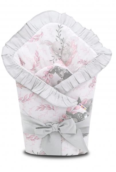 Baby Nellys Rýchlozavinovačka 80x80cm s volánikom a stuhou, LULU natural, růžová, sivá
