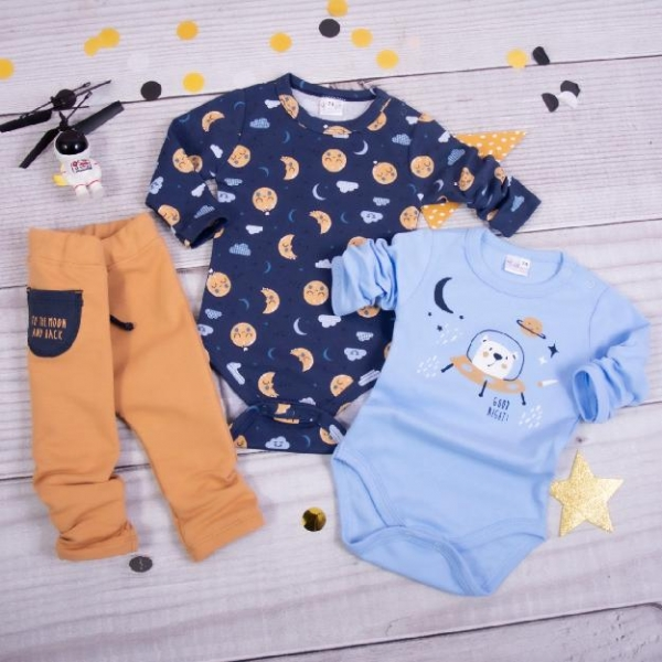 K-Baby 3-dielna sada, 2x body dl. rukáv, tepláčky, Mesiac, modrá, hnědá