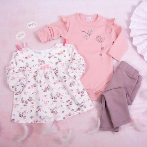 K-Baby 3-dielna sada,1x body dl. rukáv, tunika, legíny - Vážka,ružová,biela, lila, veľ. 80