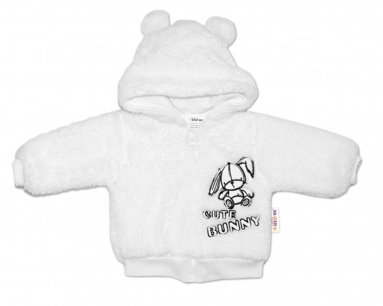 Baby Nellys Dojčenská chlupáčková bundička  s kapucňou Cute Bunny - biela