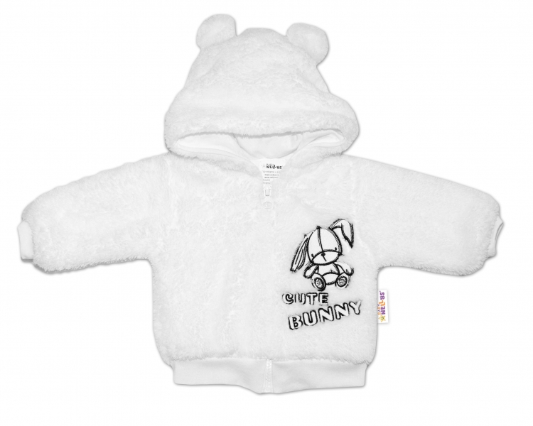 Baby Nellys Dojčenská chlupáčková bundička  s kapucňou Cute Bunny - biela, veľ. 74