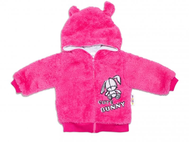 Baby Nellys Dojčenská chlupáčková bundička  s kapucňou Cute Bunny - malinová, veľ. 62