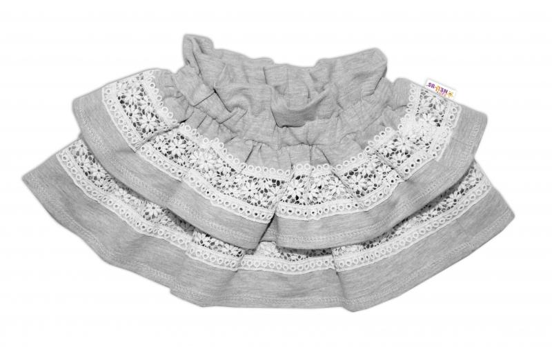 Kojenecká 2 dielna súprava, body dlhý rukáv + suknička s krajkou a volánikmi, veľ. 80, sivá