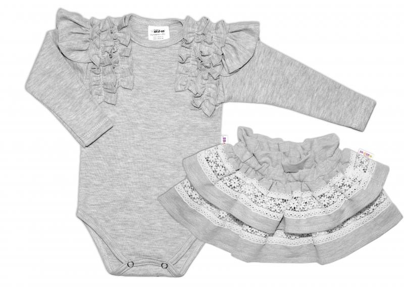 BABY NELLYS 2 dielna sada, body dl.rukáv + suknička s krajkou a volánikmi, veľ. 98, sivá