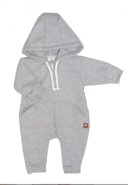 Detský teplákový overal s kapucňou, sivý, veľ. 86