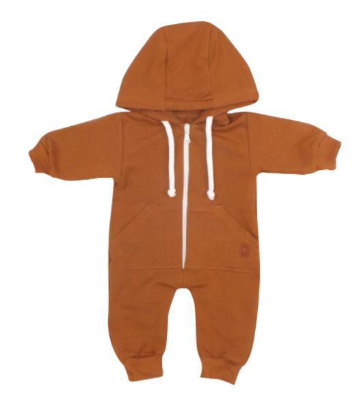 Detský teplákový overal s kapucňou, hnedý, vel. 86