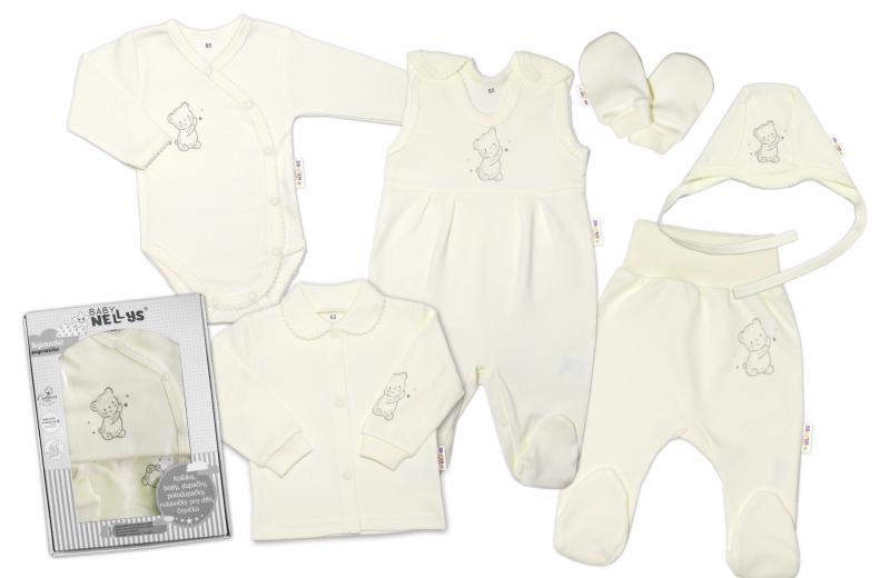 Baby Nellys Veľká sada do pôrodnice TEDDY, 6-ti dielna, krémová-#Velikost koj. oblečení;50 (0-1m)