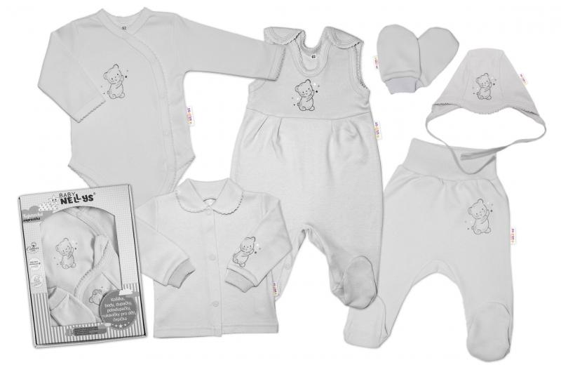 Baby Nellys Veľká sada do pôrodnice TEDDY, 6-ti dielna, sivá, veľ. 62-#Velikost koj. oblečení;62 (2-3m)
