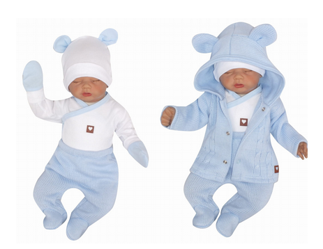 Z & Z 5-dielna kojenecká súpravička do pôrodnice - modrá, biela, veľ. 62