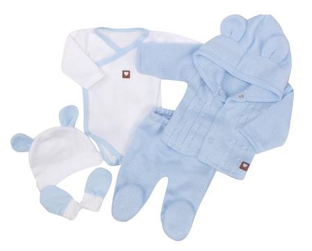 Kojenecká 5-dielna súprava do pôrodnice - modrá, biela, veľ. 62