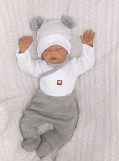 Kojenecká 5-dielna súprava do pôrodnice - šedá, biela, veľ. 62