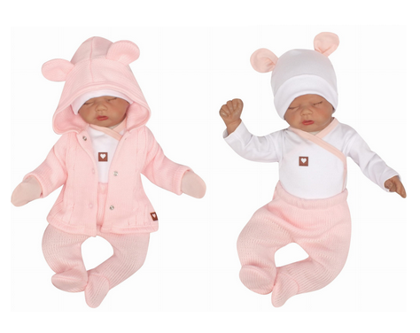 Z & Z 5-dielna kojenecká súpravička do pôrodnice - růžová, biela-#Velikost koj. oblečení;50 (0-1m)