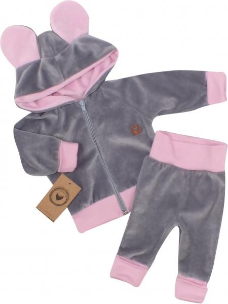 Z&Z Velúrová, semišková tepláková súprava TEDDY - ružová, šedá, veľ. 68-#Velikost koj. oblečení;68 (4-6m)