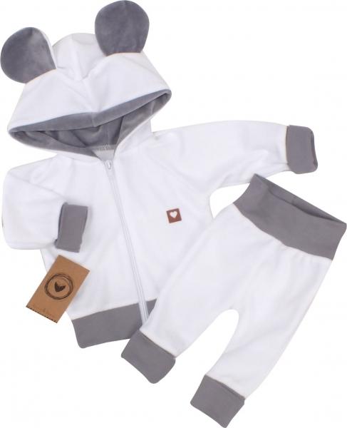 Z&Z Velúrová, semišková tepláková súprava TEDDY - biela, šedá, veľ. 74-#Velikost koj. oblečení;74 (6-9m)