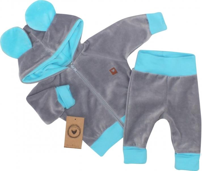 Z&Z Velúrová, semišková tepláková súprava TEDDY - modrá, šedá, veľ. 74-#Velikost koj. oblečení;74 (6-9m)