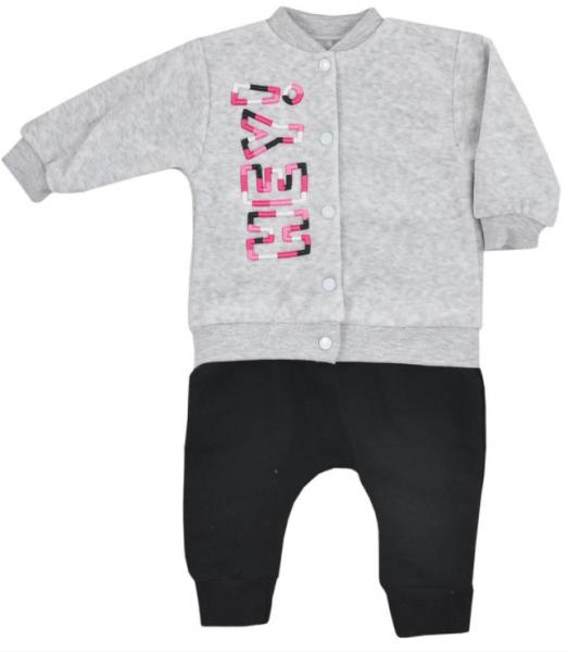 Koala Baby Sada mikinka, zapínanie na druky + tepláčky, Hey Girl - sv.sivá/čierna, veľ. 74