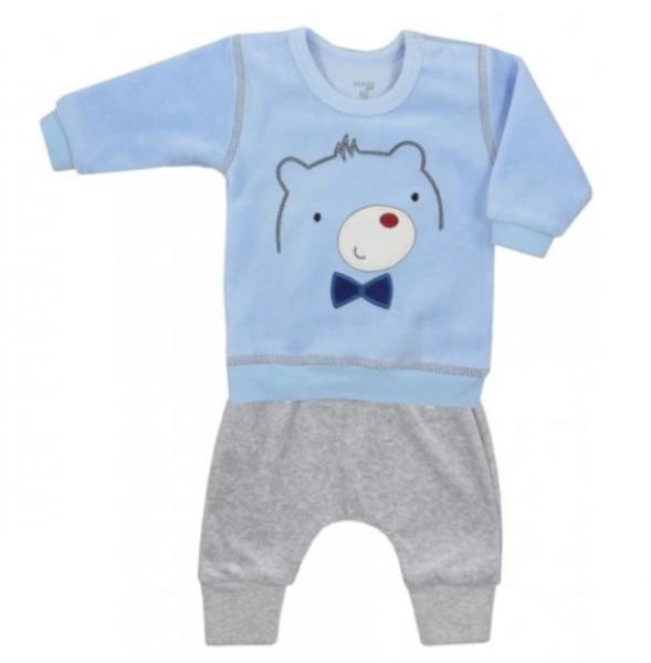 Koala Baby Semiškový komplet mikinka + tepláčky, Medvedík - sivý / sv.modrý