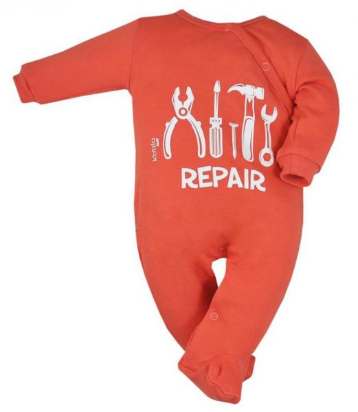 Koala Baby Overal Repair, zapínanie bokom, oranžová, veľ. 68