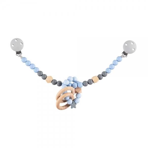 Nibbling Silikónový retiazka s hryzátkom na kočík - modrá / sivá