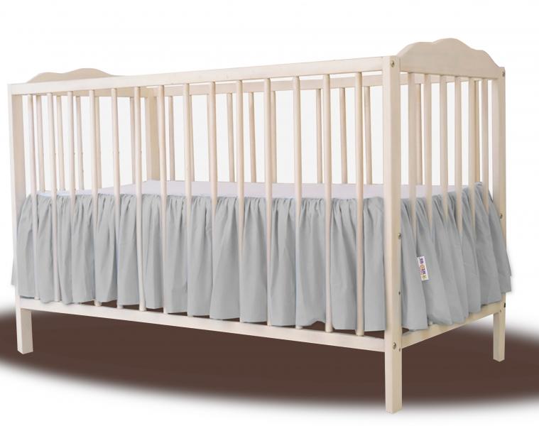 Baby Nellys Bavlnený volánik pod matrac - sivá-#Postýlky;120x60