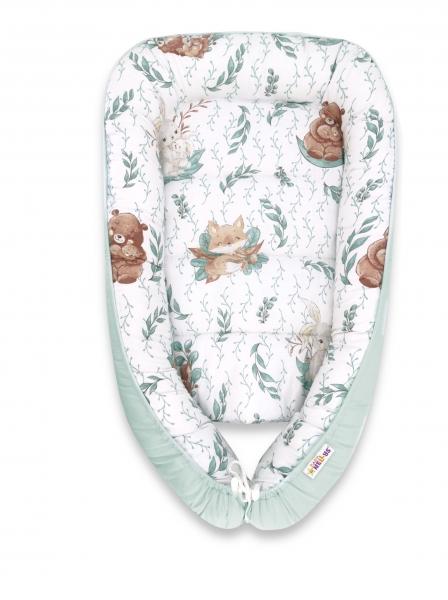 Baby Nellys Bavlnené obojstranné hniezdočko, 55x75cm, LULU natural - mätová