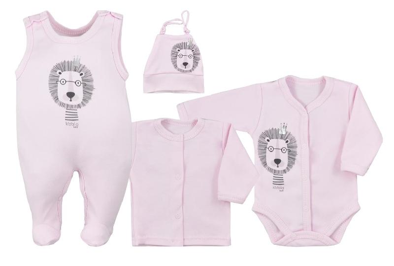 Koala Baby 4- dílná bavlněná soupravička do porodnice Simba - ružová, veľ. 62-#Velikost koj. oblečení;62 (2-3m)