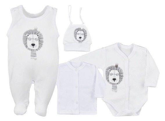 Koala Baby 4- dílná bavlněná soupravička do porodnice Simba - biela, veľ. 62-#Velikost koj. oblečení;62 (2-3m)