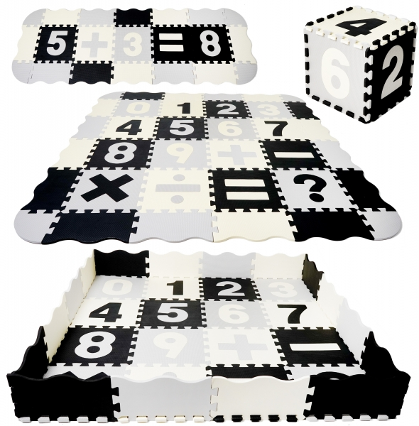 TULIMI Detske penové  puzzle 150x150cm, hracia deka, podložka na zem XXL - čísla, 56 dílu