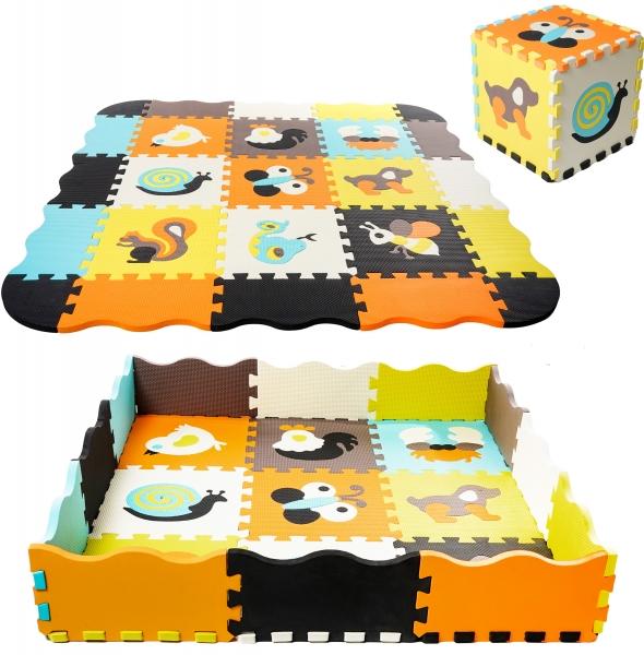 TULIMI Detske penové  puzzle 115x115cm, hracia deka, podložka na zem - farevná zvierátka