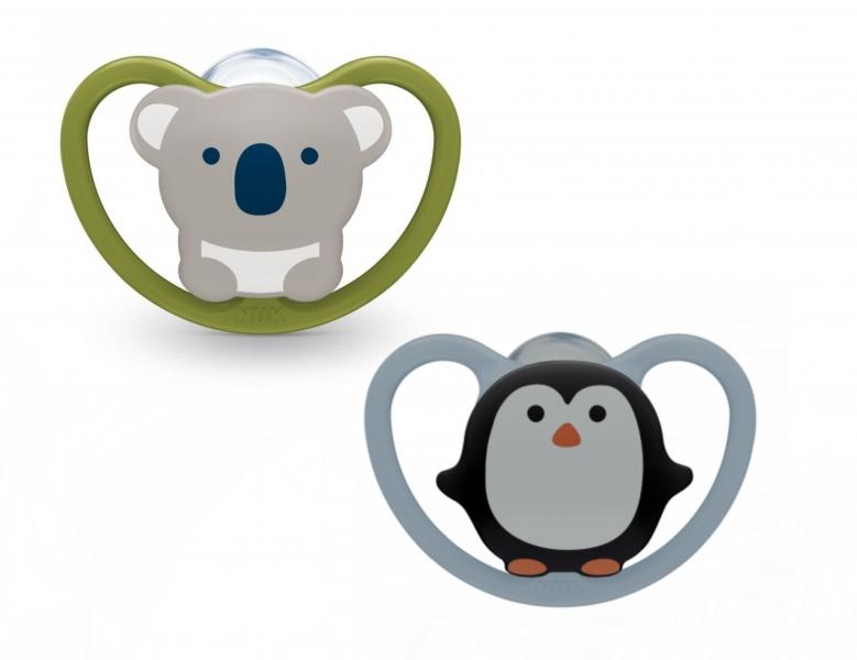 NUK Silikovoný cumlík Koala, Tučniak 6-18 m, zeleno / sivý