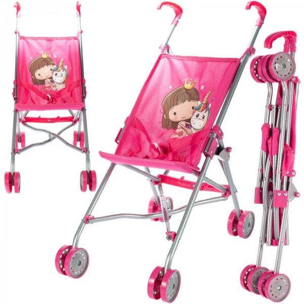 Tulimi Športový kočík pre bábiky Unicorn - ružový