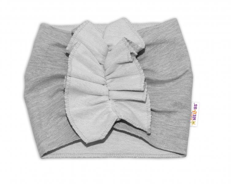 BABY NELLYS Detská čelenka Turban, sivá, 1 - 2 roky-#Velikost koj. oblečení;1-2 roky